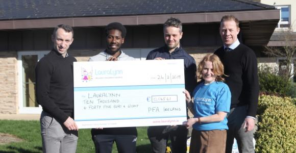 Pic of cheque presentation to LauraLynn