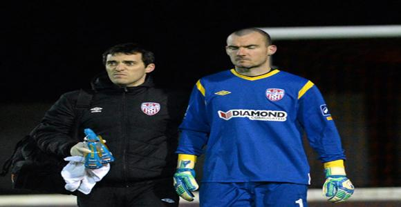 Ger Doherty leaving the pitch after receiving a head injury during the St Patrick's Athletic v Derry City game
