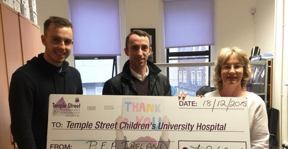 Cheque presentation to Temple Street Children's Hospital